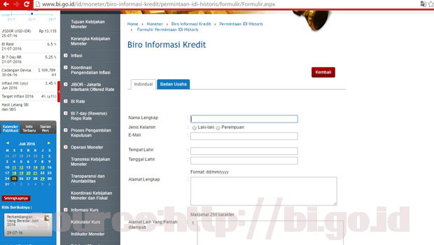 Menghapus status blacklist BI Checking